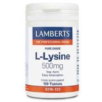 L-LISINA HCl 500 mg. 120 Comprimidos (LAMBERTS)