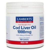 ACEITE DE HIGADO DE BACALAO 1000 mg. 180 Cápsulas (LAMBERTS)